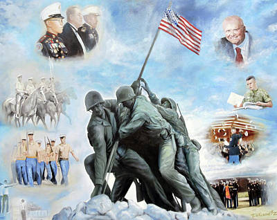 Photograph - Marine Corps Art Academy Commemoration Oil Painting By Todd Krasovetz by Todd Krasovetz