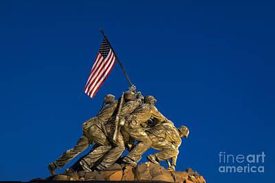 U.s.a. Flag Photograph - Marine Corps War Memorial by John Greim