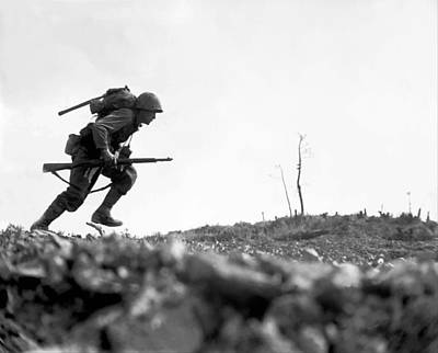 World War Two Photograph - Marine Dash On Okinawa by War Is Hell Store