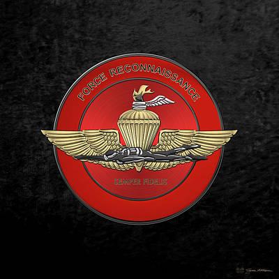 Marine Force Reconnaissance  -  U S M C   F O R E C O N  Insignia Over Black Velvet Original