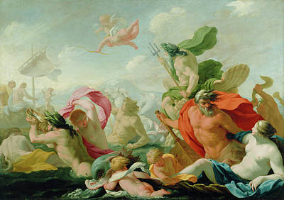 Marine Gods Paying Homage To Love Print by Eustache Le Sueur