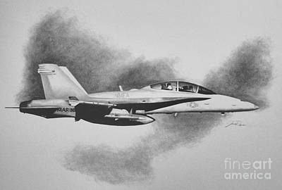 F-18 Drawing - Marine Hornet by Stephen Roberson