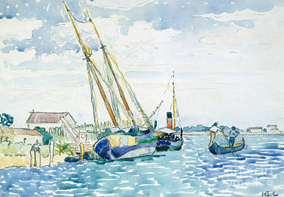 Sea Watercolor Painting - Marine Scene, Boats Near Venice, 1903  by Henri Edmond Cross