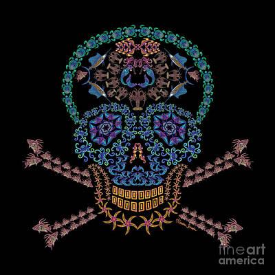 Digital Art - Marine Skull And Crossbones by Heather Schaefer