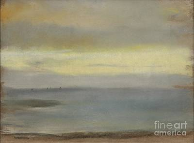Marine Soleil Couchant Art Print by Edgar Degas