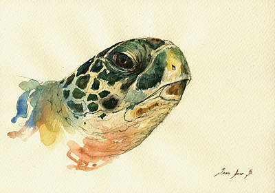 Marine Painting - Marine Turtle by Juan  Bosco
