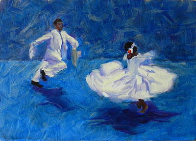 Painting - Marinera Nortenia Blue, Peru Impression by Ningning Li