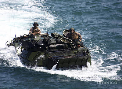 Armored Vehicle Photograph - Marines Operate An Amphibious Assault by Stocktrek Images