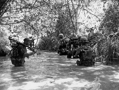 Marines Use Stream For Trail Art Print by Underwood Archives