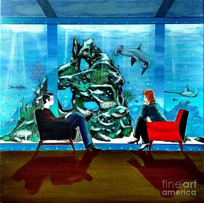Marinelife Observing Couple Sitting In Chairs Art Print