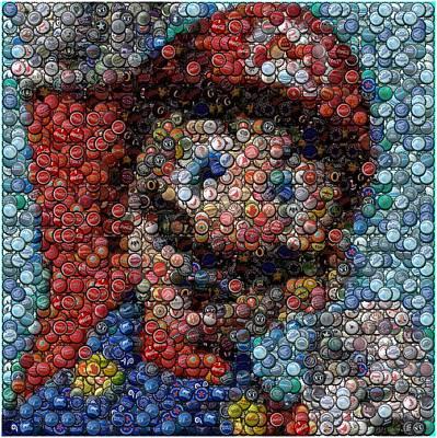 Mario Bottle Cap Mosaic Art Print