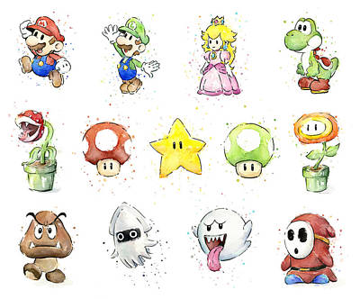 Mushrooms Painting - Mario Characters In Watercolor by Olga Shvartsur