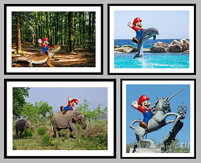 Elephant Digital Art - Mario Riding Animals Collection by Tin Tran