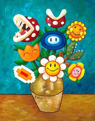 Piranha Painting - Mario Van Gogh's Flowers by Katie Clark