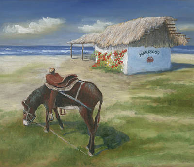 Burro Painting - Marisco's In Punta Mita by Jerry McElroy