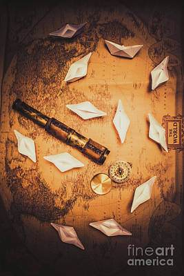 Toy Boat Photograph - Maritime Origami Ships On Antique Map by Jorgo Photography - Wall Art Gallery