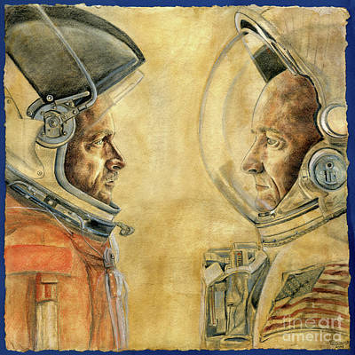 Soyuz Drawing - Mark And Scott Kelly by Michelle Rouch