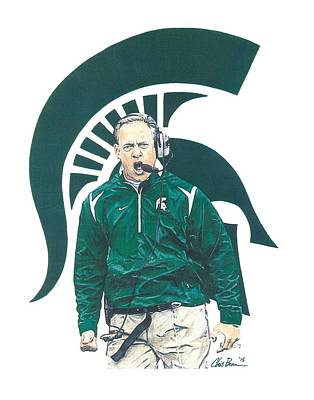 Michigan State Mixed Media - Mark Dantonio by Chris Brown
