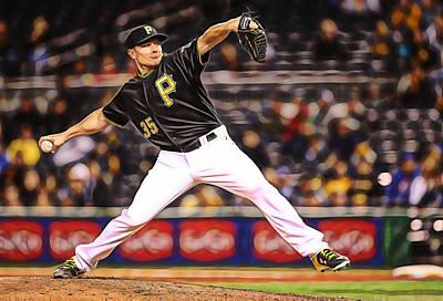 Baseball Art Mixed Media - Mark Melancon Baseball by Marvin Blaine