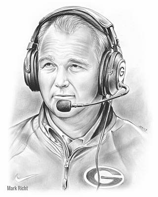 Football Drawing - Mark Richt  by Greg Joens