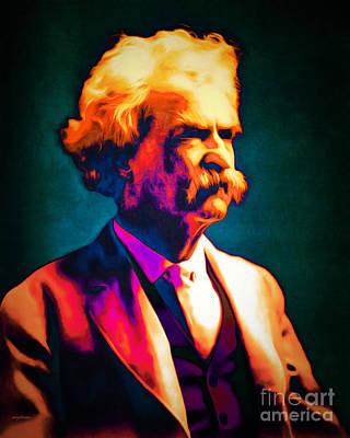 Calavera Digital Art - Mark Twain 20151224 by Wingsdomain Art and Photography