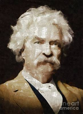 Book Mark Painting - Mark Twain By Mary Bassett by Mary Bassett