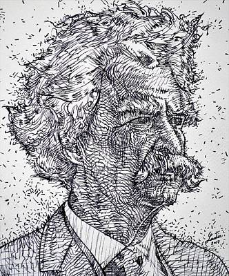 Painting - Mark Twain - Ink Portrait by Fabrizio Cassetta