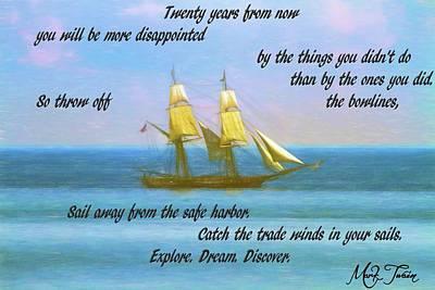 Digital Art - Mark Twain Inspirational Quote by Dan Sproul