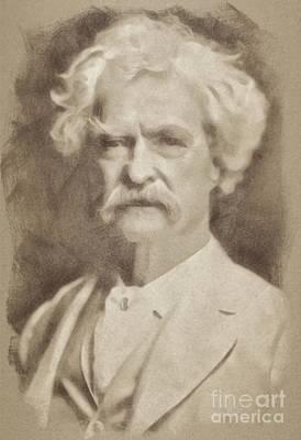 Classic Portrait Drawing - Mark Twain, Literary Legend By John Springfield by John Springfield