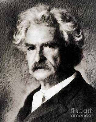Book Mark Painting - Mark Twain, Literary Legend by John Springfield