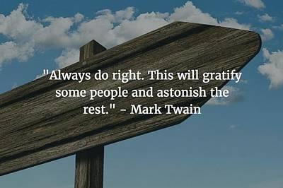 Photograph - Mark Twain Quote by Matt Create