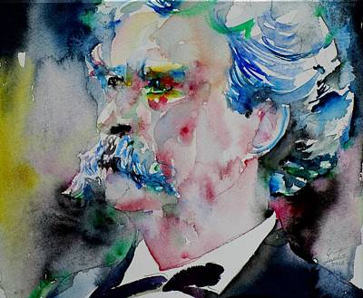 Painting - Mark Twain - Watercolor Portrait.5 by Fabrizio Cassetta
