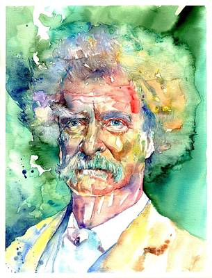 Cemetery Painting - Mark Twain Watercolor by Suzann's Art