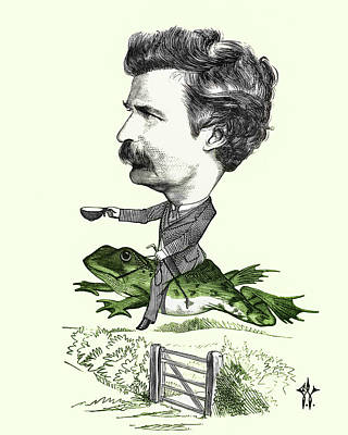 Photograph - Mark Twain Caricature Colorized by Phil Cardamone