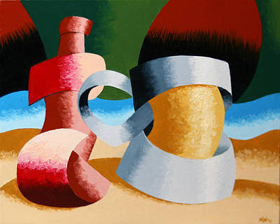 Beer Oil Painting - Mark Webster - Abstract Futurist Beer Mug And Bottle by Mark Webster