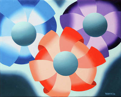 Cubist Painting - Mark Webster - Abstract Futurist Flowers 2 Oil Painting  by Mark Webster