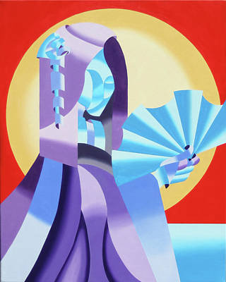 Mark Webster - Abstract Futurist Geisha Art Print by Mark Webster