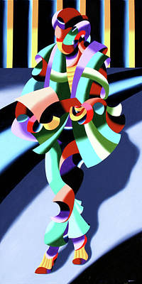 Mark Webster Painting - Mark Webster - Abstract Futurist Modern Woman In Tokyo by Mark Webster