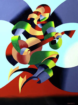 Painting - Mark Webster - Abstract Guitarist by Mark Webster