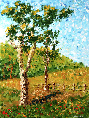 Painting - Mark Webster - Abstract Tree Landscape Acrylic Painting by Mark Webster