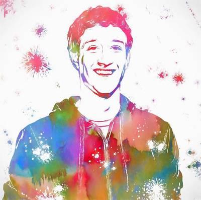 Network Mixed Media - Mark Zuckerberg Paint Splatter by Dan Sproul