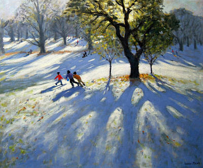 Running Painting - Markeaton Park Early Snow by Andrew Macara