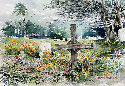 Painting - Markers And Flowers In Rockport by Monte Toon