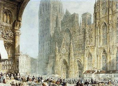 Market Day Painting - Market Day Before Rouen Cathedral by MotionAge Designs