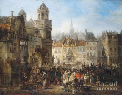 Market Day Painting - Market Day In A Brussels Square by MotionAge Designs