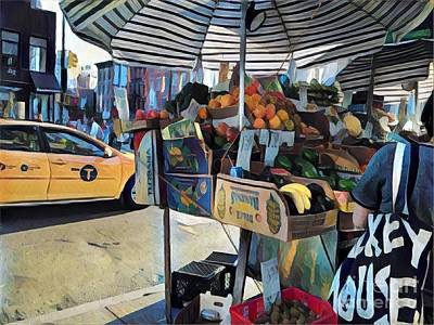 Photograph - Market Day In New York - Fruitstand Umbrella And Taxi by Miriam Danar