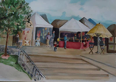 Painting - Market Day In Old Town Henderson Nevada by Charme Curtin