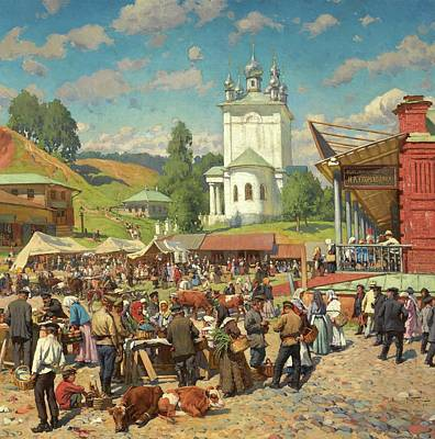 Market Day Painting - Market Day In Plyos by Alexander Vladimirovich Makovsky