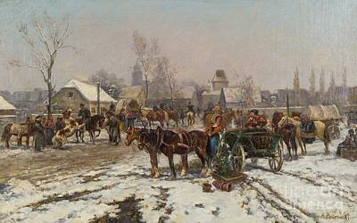 Market Day Painting - Market Day In Winter by Celestial Images