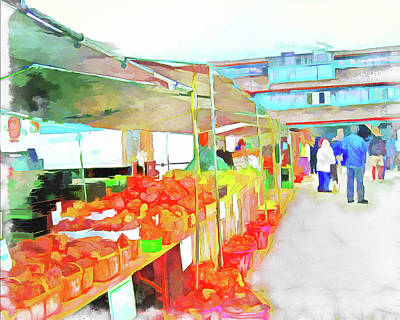 Farm Stand Digital Art - Market Day by Leslie Montgomery